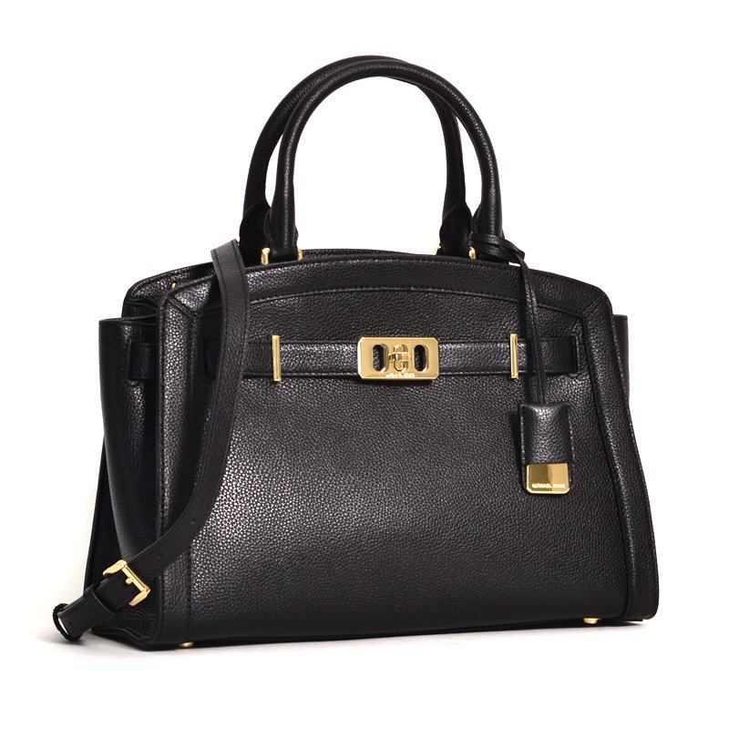 c8a2cd85f5f9 Michael Kors Karson Large Satchel Pebbled Leather Tote in Black ...