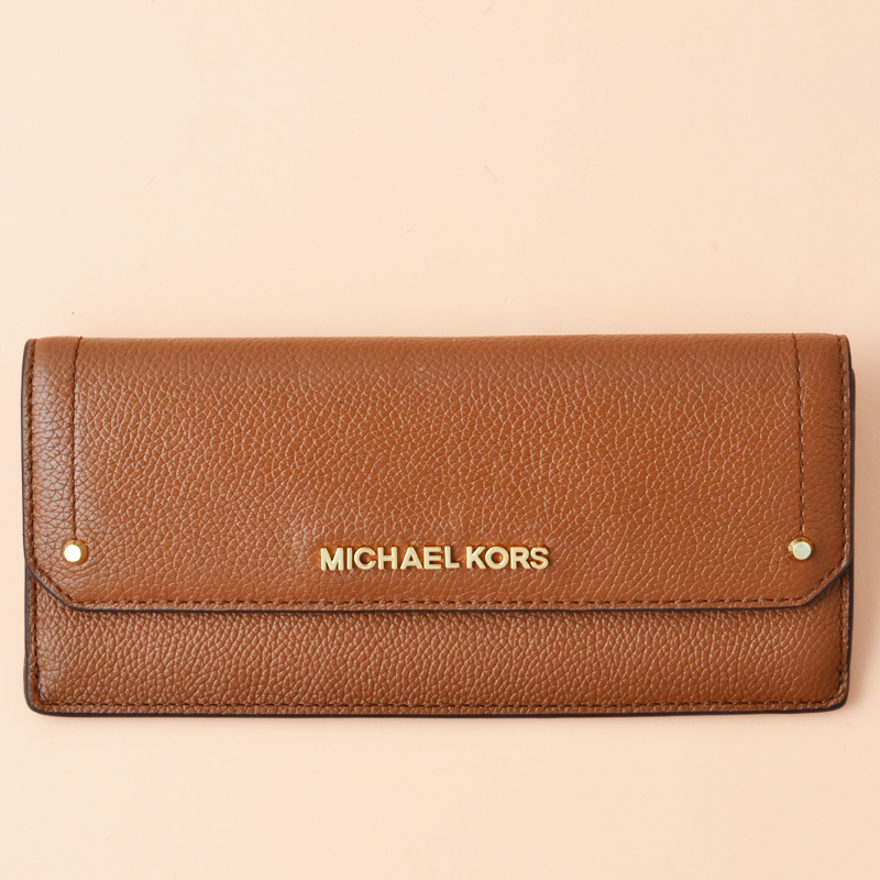 0e6fc9a4fb7a51 Michael Kors Hayes Flat Wallet Leather Luggage - Averand
