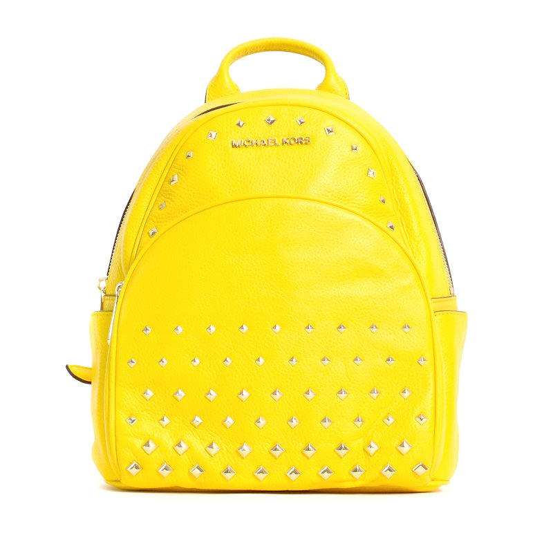 4a2d13527a25 Michael Kors Abbey MD Studded Backpack Leather Citrus - Averand