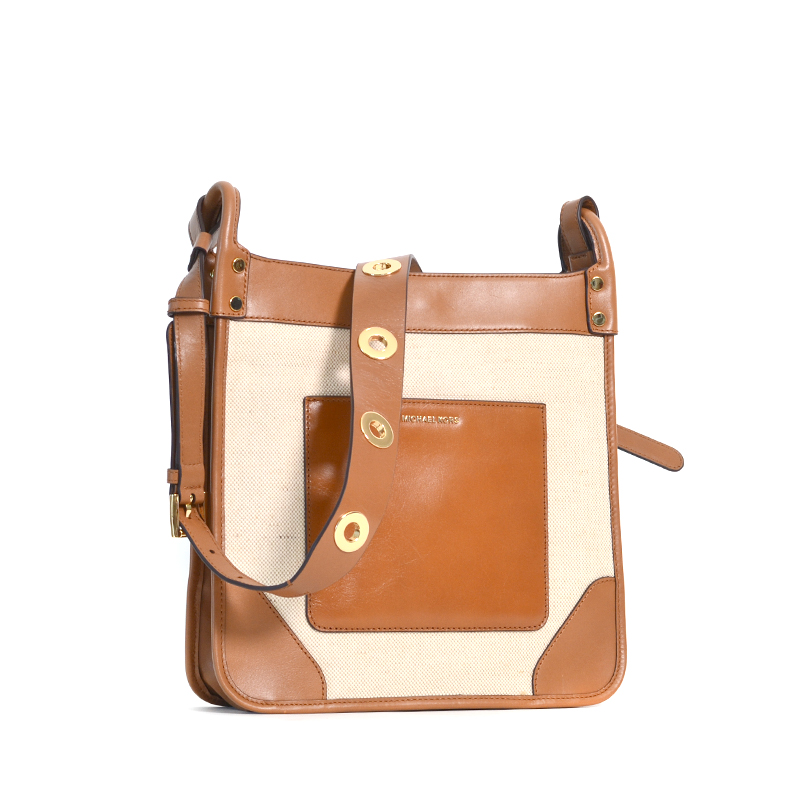bc0dfa35d32cc Michael Kors Sullivan Large NS Messenger Natural - Averand