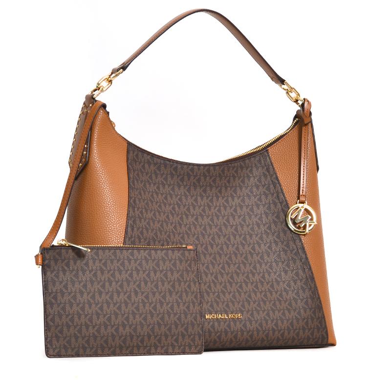 e9c3d68a72e2bf Michael Kors Kimberly Studded Shoulder Bag Brown Acorn - Averand