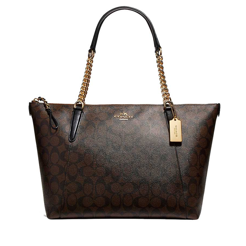 attractive & durable top-rated latest closer at Coach Ava Chain Tote Signature Brown Black - Averand