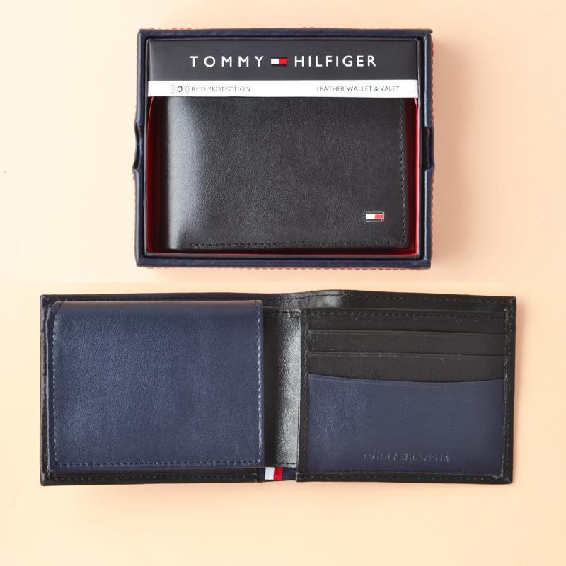 sale 50% price various colors Tommy Hilfiger Bifold RFID Black Navy - Averand